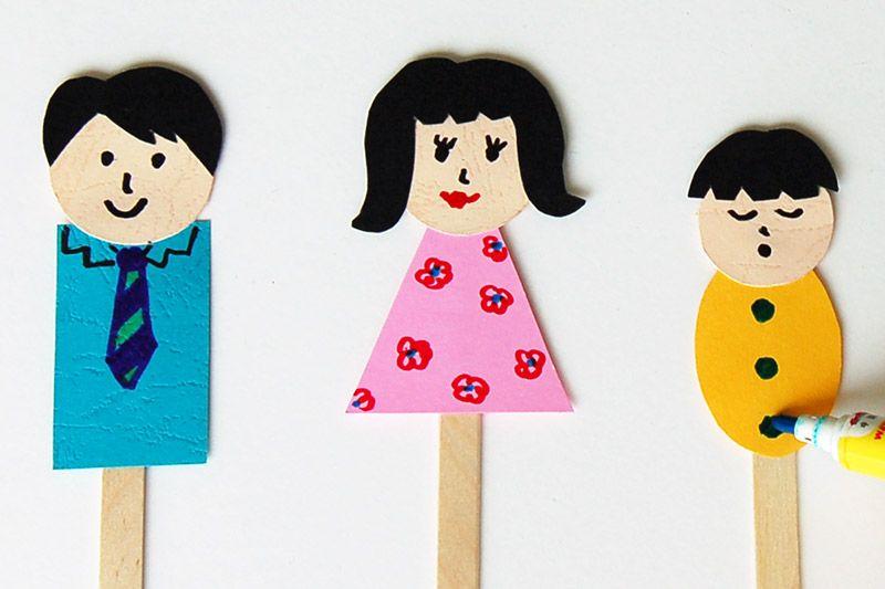 Family stick puppet templates free printable templates