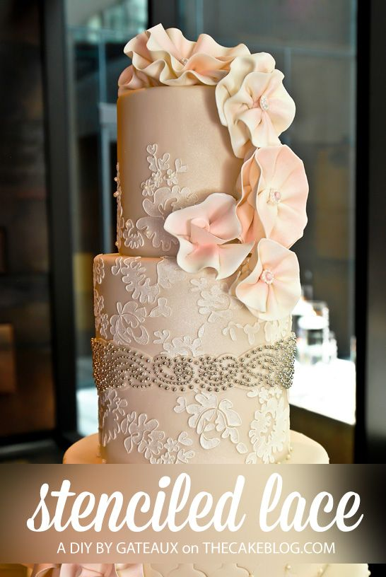 Stenciled Lace Cake Tutorial By Gateaux Inc Thecakeblog