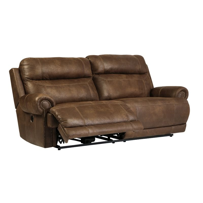 Ashley Austere Brown Microfiber 2-Seat | Furniture and Mattress Outlet