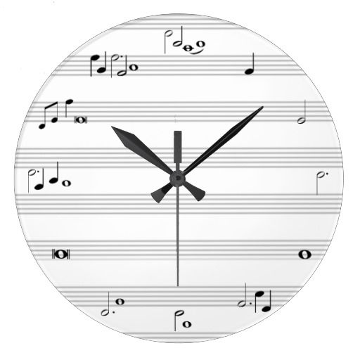 Music Note Time Clock Black And White Zazzle Com Clock Wall Clock Music Notes