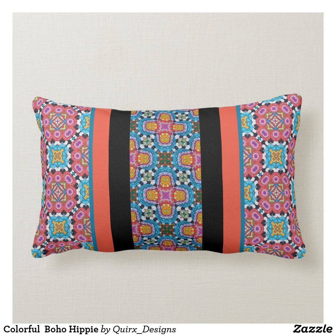 Colorful Boho Hippie Lumbar Pillow