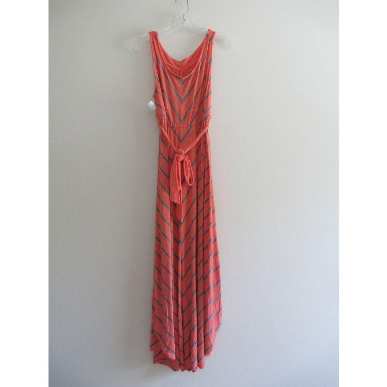 Vintage Liz Claiborne Striped Coral Gray Waist Tie A Line Stretch Midi Dress Sz Medium