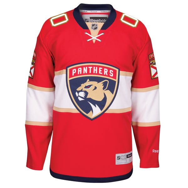 official photos b11a9 e687b Men's Florida Panthers Reebok Red Home Premier Custom Jersey ...