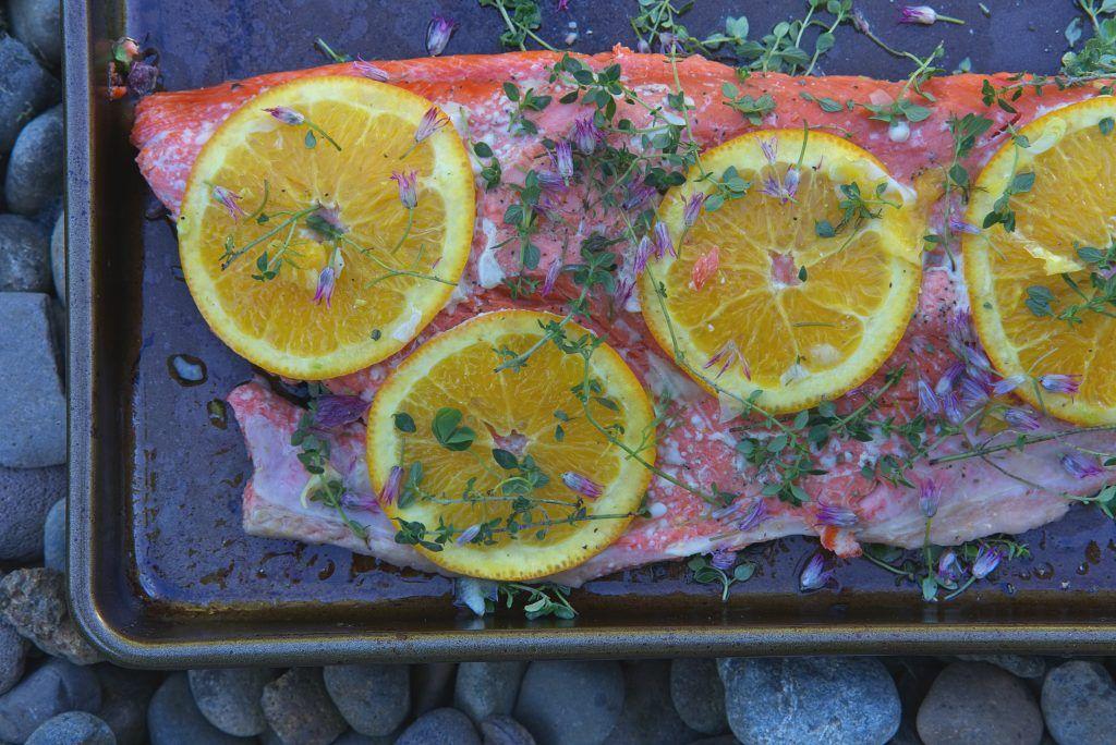 Citrus thyme salmon with pesto pasta recipe salmon