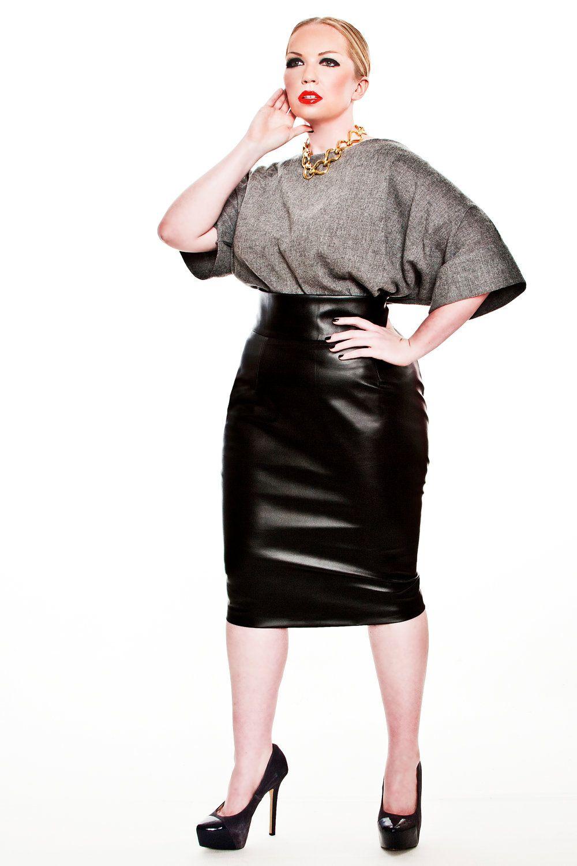 JIBRI Plus Size Faux Leather High Waist Pencil Skirt. $160.00, via ...