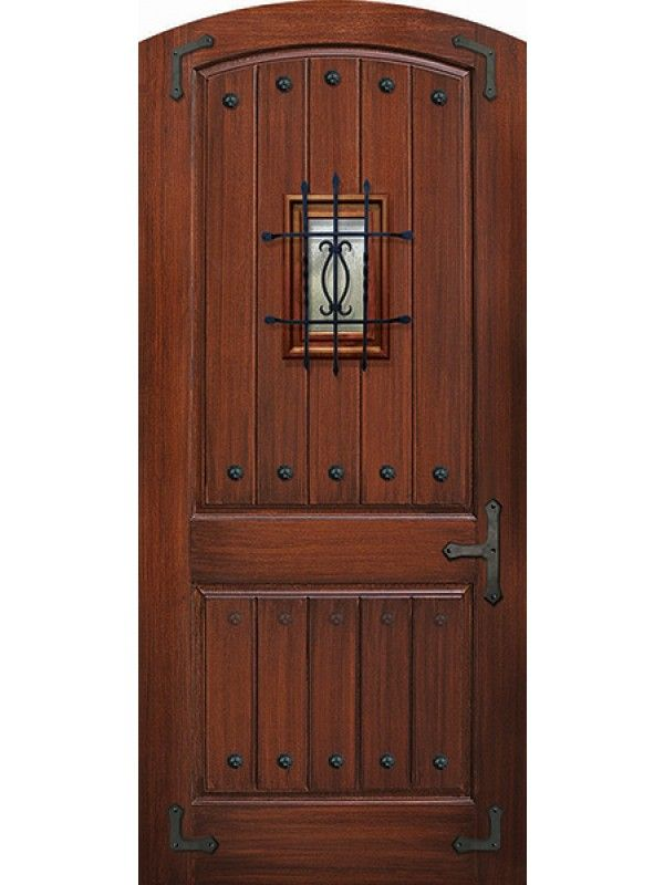 Arch Top 2 Panel 42 Wide V Groove Mahogany Door With Speakeasy Straps Clavos 8 0 Mahogany Doors Fiberglass Exterior Doors Fiberglass Double Entry Doors