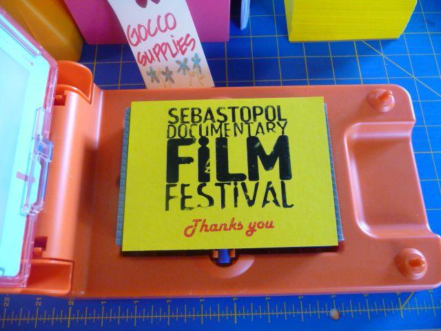 Gocco printed Thank You cards for Sebastopol Documentary Film  Festival. c. 2007