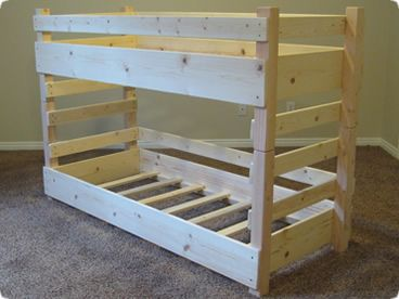 Small Toddler Bunk Bed Plans Fits Two Crib Size Mattresses