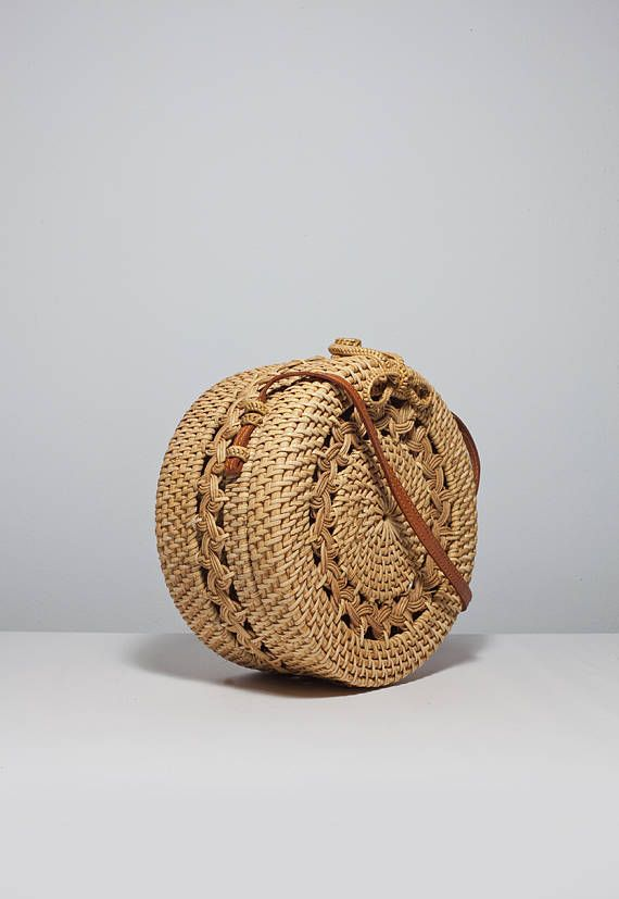 Patrón clásico ronda bolsa de canasta tejido diseño redondo ...