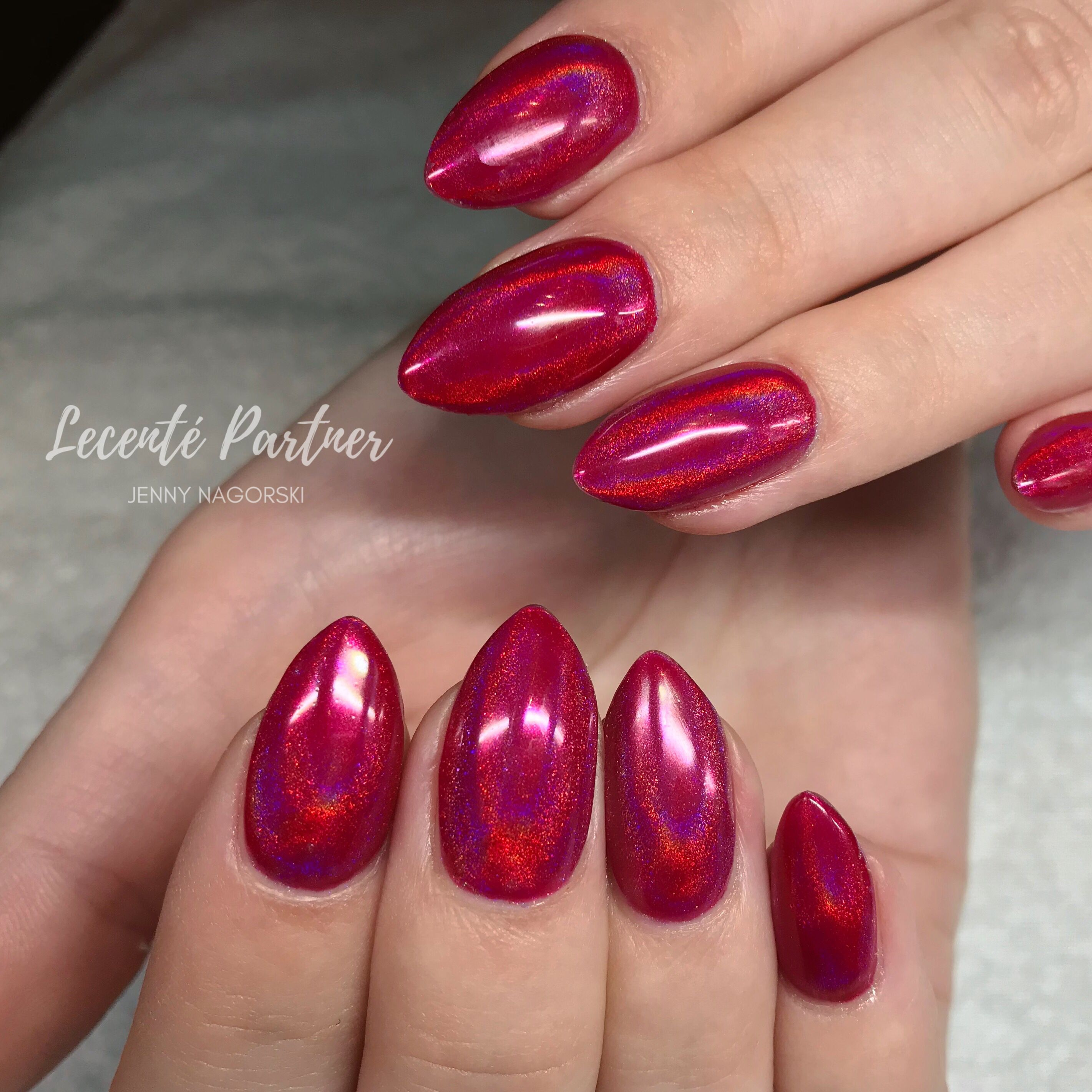 Chrome Nail Powder Cnd: Red Rainbow Chrome With Lecenté And CND Shellac