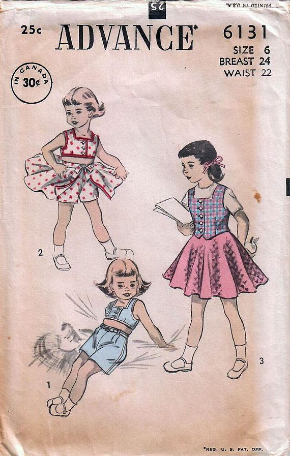 1950s Advance 6131 Vintage Sewing Pattern Girls Playsuit, Flared ...