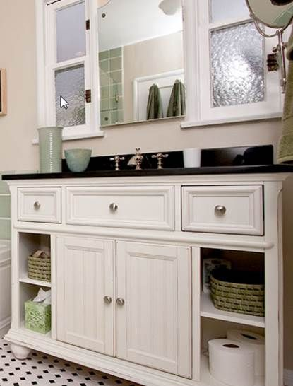 One idea with White Vanity, add glass knobs, dark top with backsplash, white-black checked tile floor (have seen this floor in late 1800s pictures)