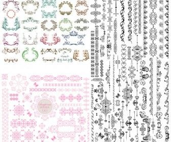 5 sets of vector vintage baroque frames and classic embellishment 5 sets of vector vintage baroque frames and classic embellishment elements decorative borders floral stopboris Images