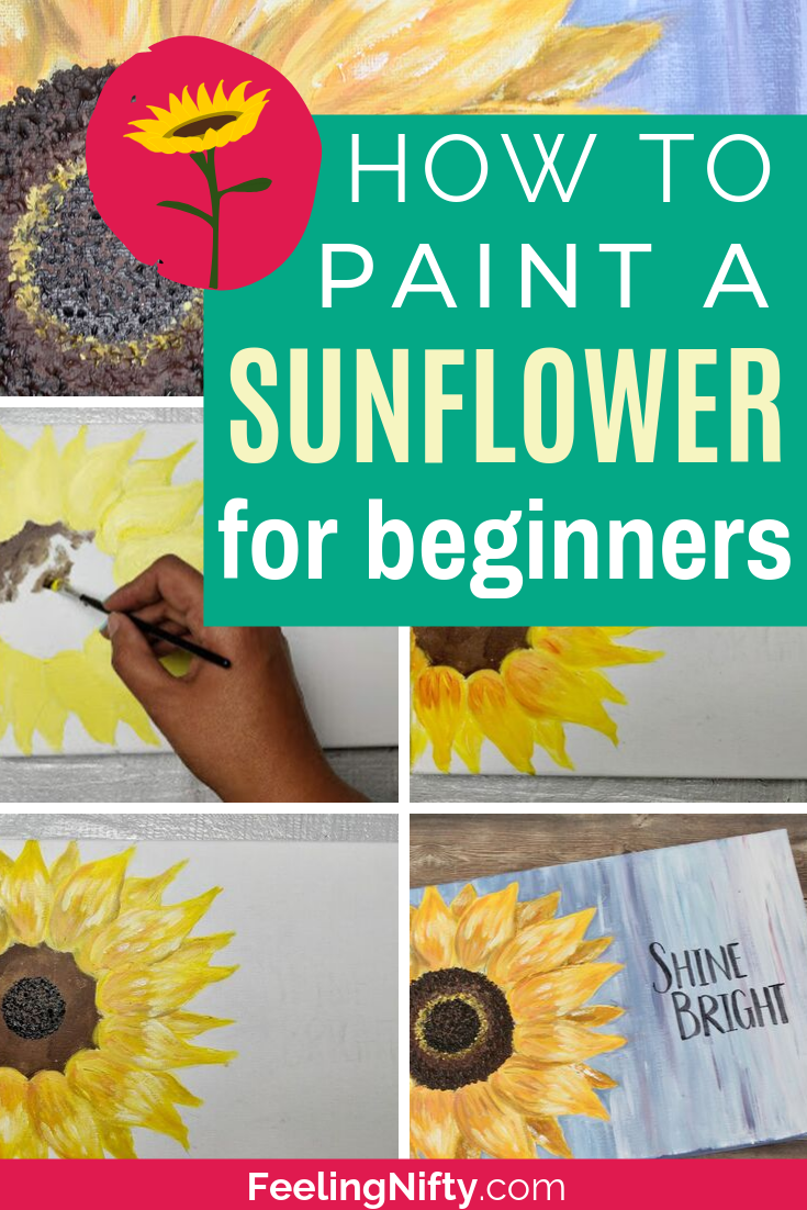 Learn how to paint sunflowers with this easy step by step tutorial. Use Acrylic paints to create this simple DIY flower painting on wood or canvas (small or big). You'll first learn how to draw a sunflower by tracing it- then paint in the abstract sunflower. Add a inspirational quote to compete your painting. #sunflower #sunflowerPainting #easyPainting #flowerPainting #flowerPower #acrylicPainting  #easyFlower #easyFlowerPainting