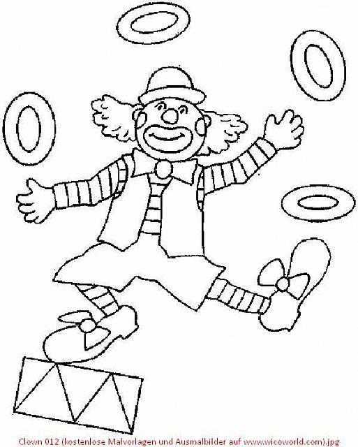 Clown 012 (kostenlose Malvorlagen und Ausmalbilder auf www.wicoworld ...