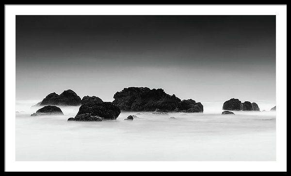 Black and white beach art framed print featuring the photograph black and white beach art