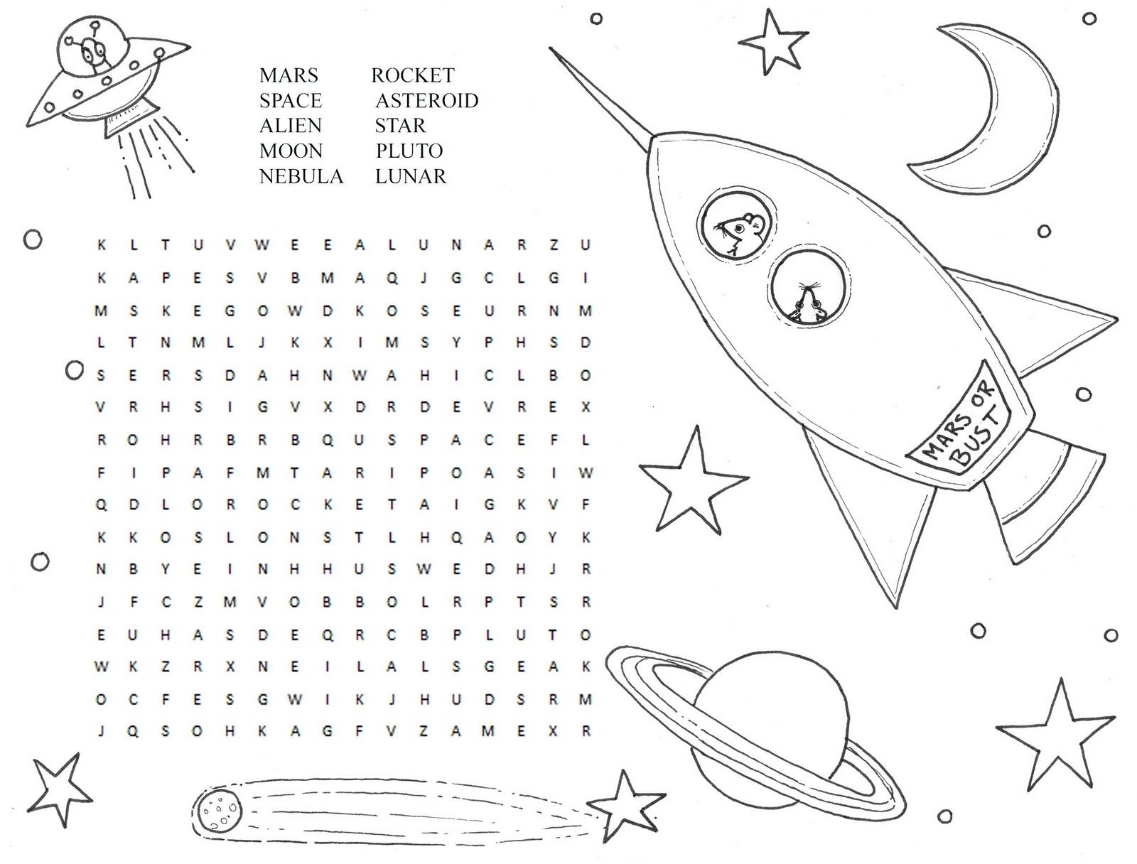 Printable Space Puzzles For Kids In