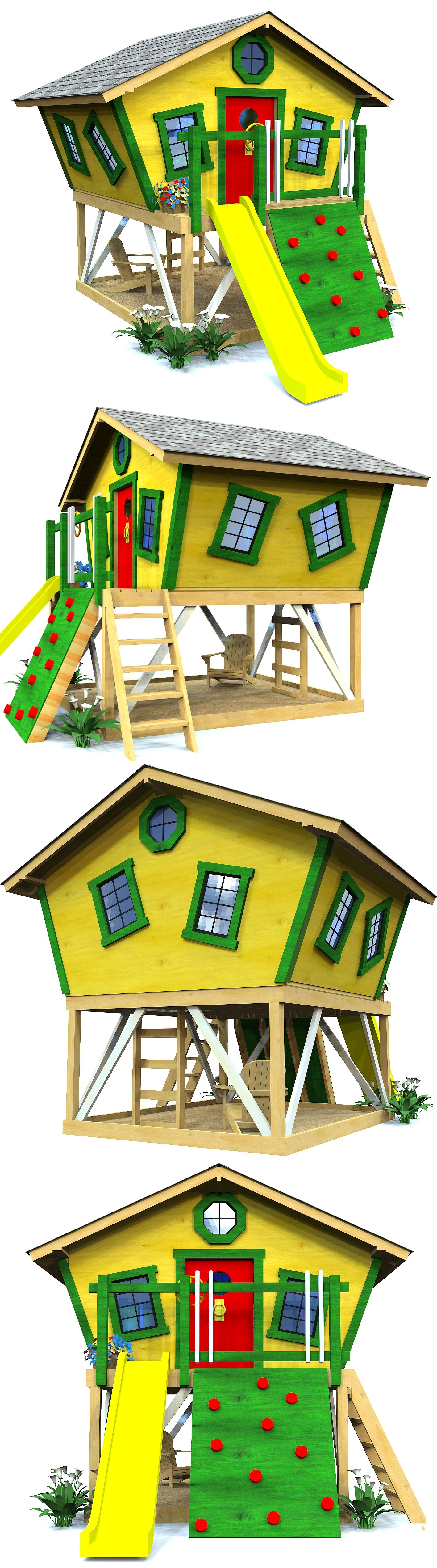 Slanted Shack Playhouse Plan | Playhouses, Front porches and Porch