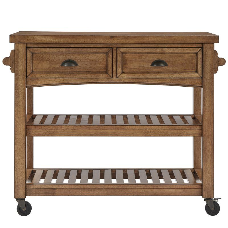 Fortville Kitchen Cart With Wood Top Kitchen Cart Kitchen Tops
