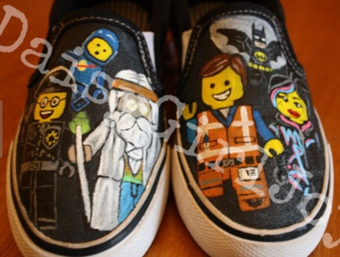 The Lego Movie Painted Shoes Minion Shoes Childrens Shoes Slip On Tennis Shoes