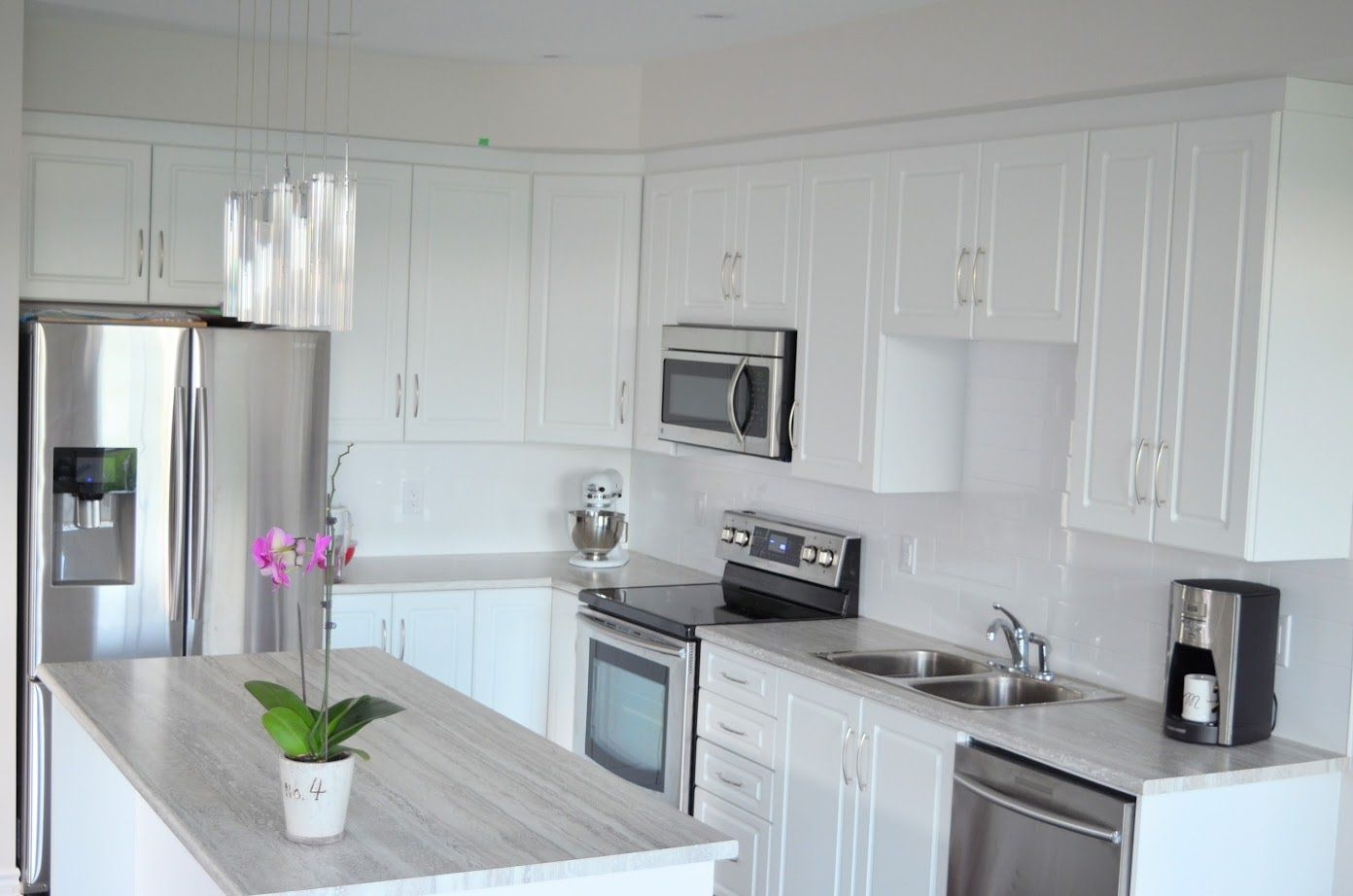 Modern White Kitchen New Build Flawless Space Kitchen Countertops Laminate Laminate Countertops White Cabinets Laminate Kitchen