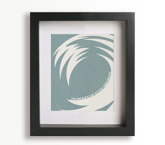"""Good Vibrations"" Music Lyrics & Wave Art Print By Beach"