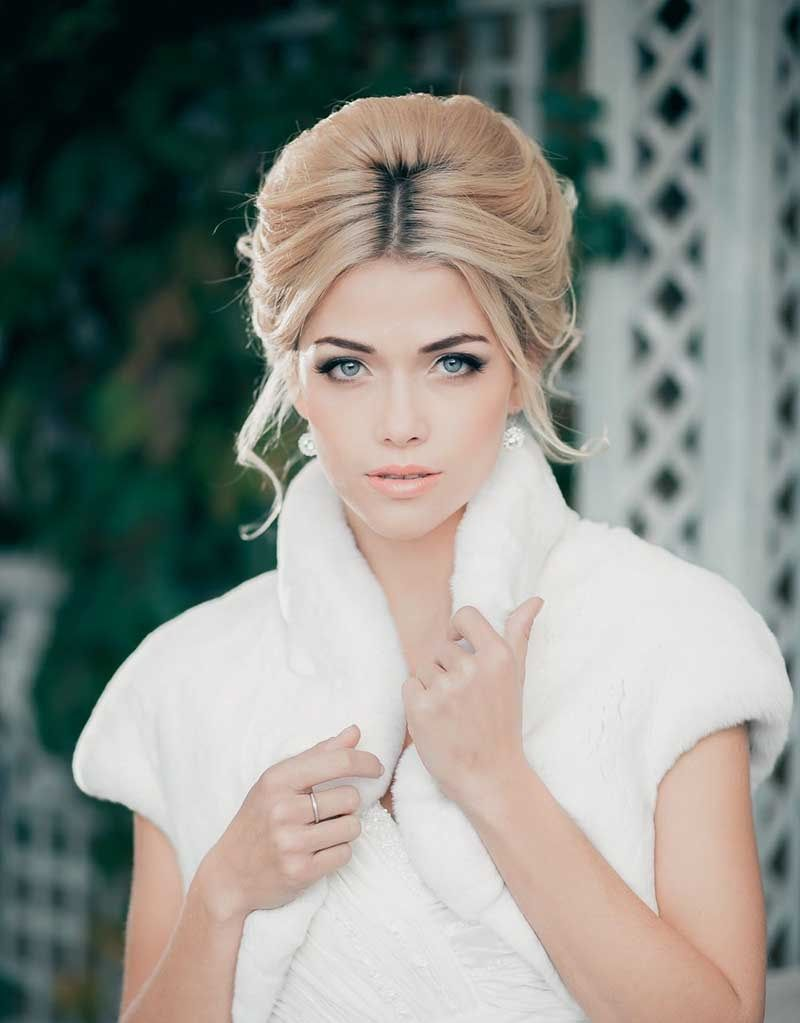 Bouffant Updo With Middle Parting Bridal Hairstyles