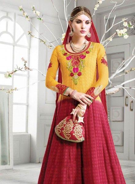Yellow Maroon Indian Anarkali Dress For Wedding Wear B15099