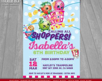 Shopkins Invitation Invite By MaluhiaPrints Invitations Birthday Invites Digital