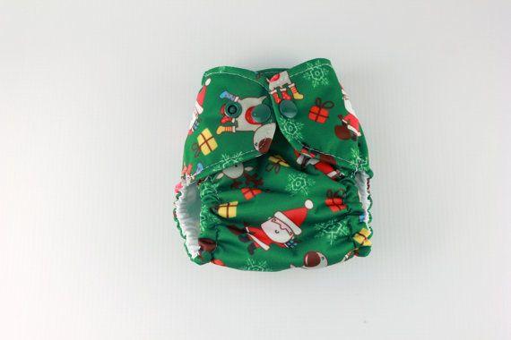 Christmas Cloth Diaper Cover  Preemie Newborn Diaper by BICKLEBEAR