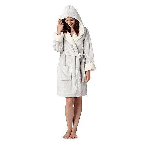 RJR.John Rocha Designer taupe fleece hooded dressing gown ... 66dc7b56d