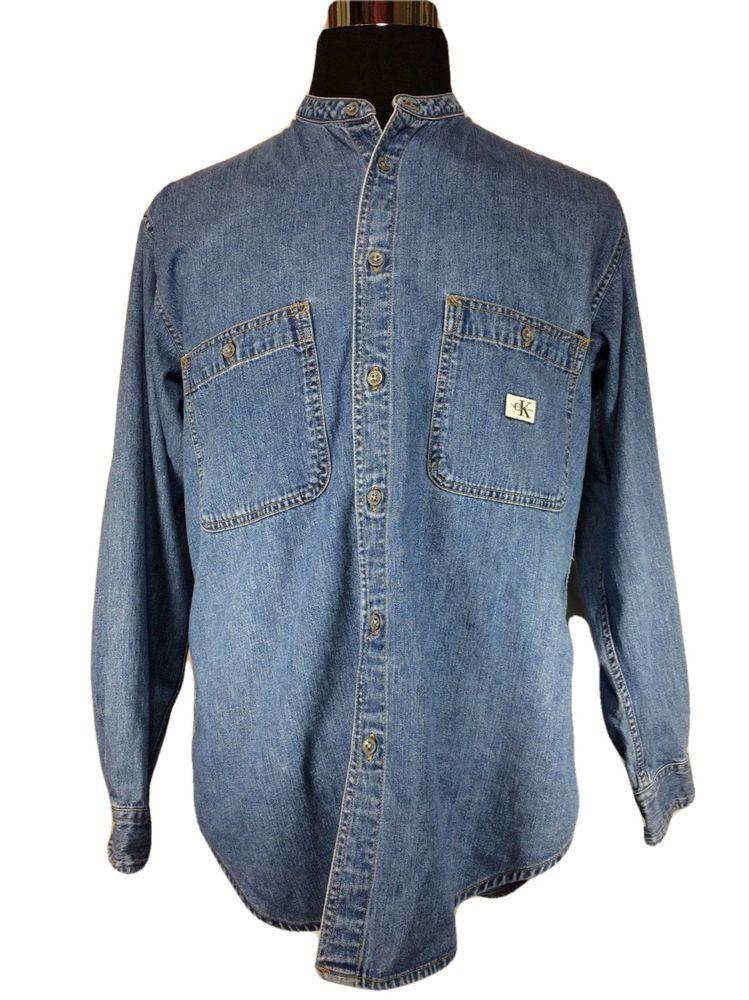 Calvin Klein CK Jeans Denim Shirt Size MEDIUM Banded Collar Cotton Long Sleeve…