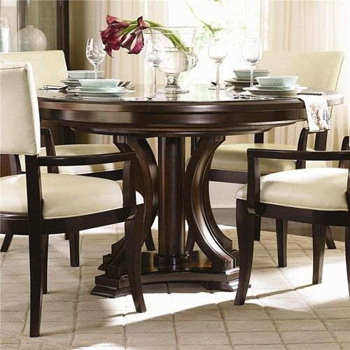 Westwood round pedestal dining table with leaf by for Round kitchen table with leaf
