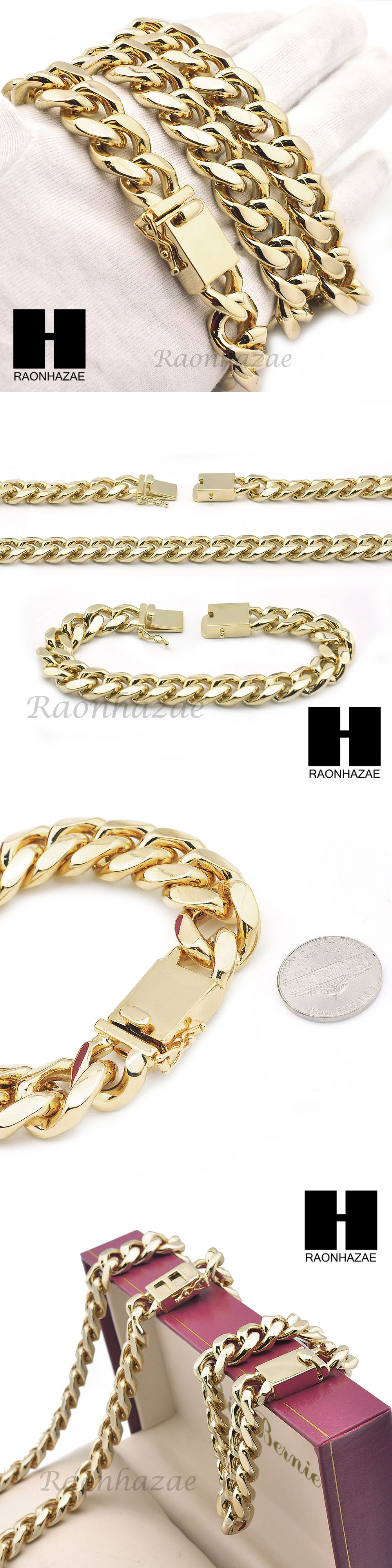 Chains Necklaces and Pendants 137839: New Mens14k Gold Finish Heavy Cuban Link Chain 15Mm 18Mm Bracelet 9 30 36 Set -> BUY IT NOW ONLY: $67.44 on eBay!