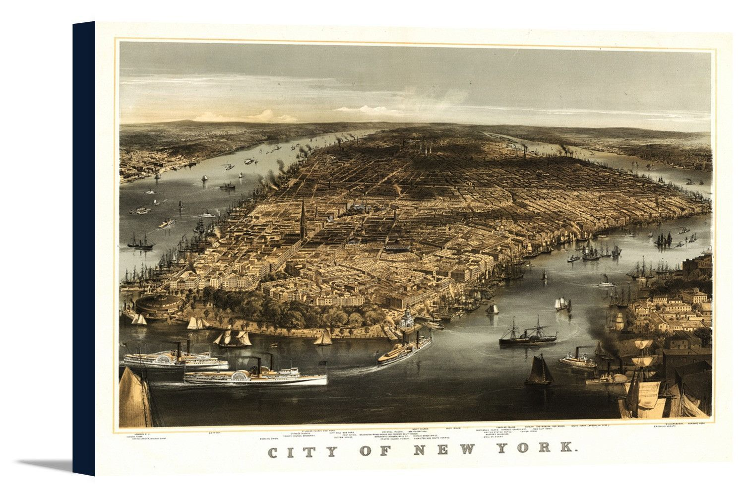 New York City New York 1856 Panoramic Map Products # Muebles Peekskill
