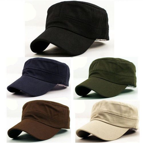 58bbb781e15 Classic Plain Vintage Army Military Cadet Style Cotton Cap Hat Adjustable  Beus