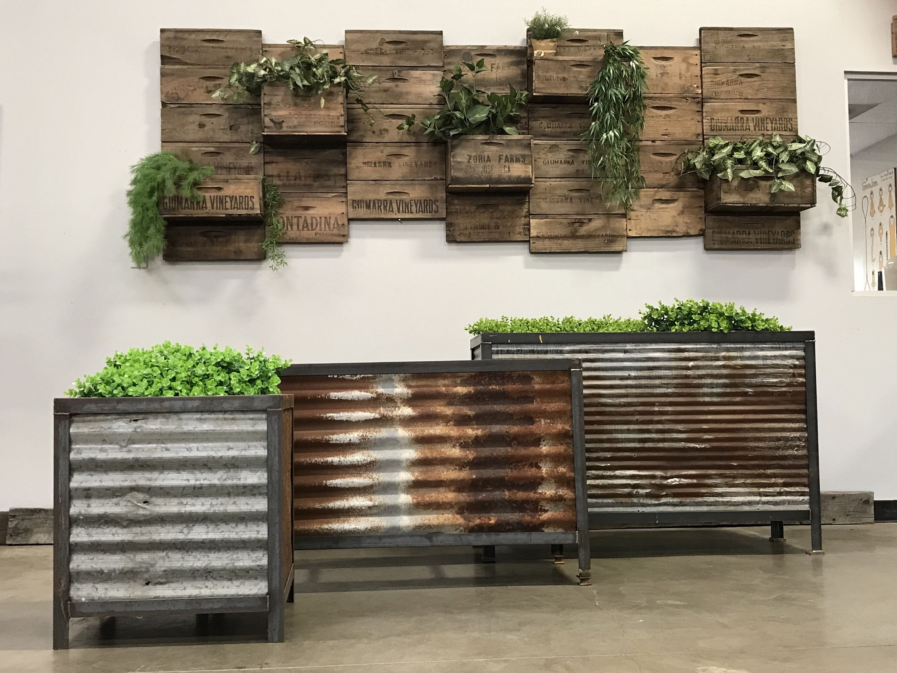 Reclaimed Planters Vintage Corrugated Metal Barn Roofing Angle Iron Frames Diy Wall Planter Corrugated Metal Metal Barn