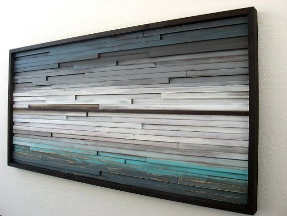 Hand Made Distressed Rustic Modern Wood Wall Sculpture By Art