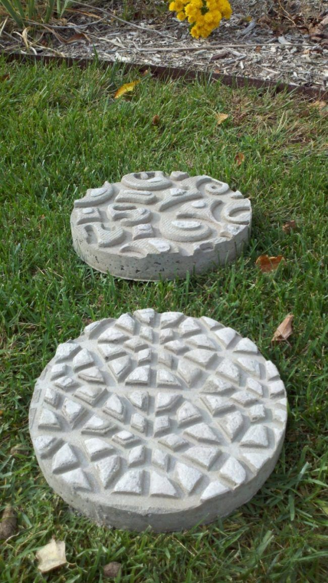 Gartendeko Beton gartendeko beton runde trittsteine muster textur zementblätter