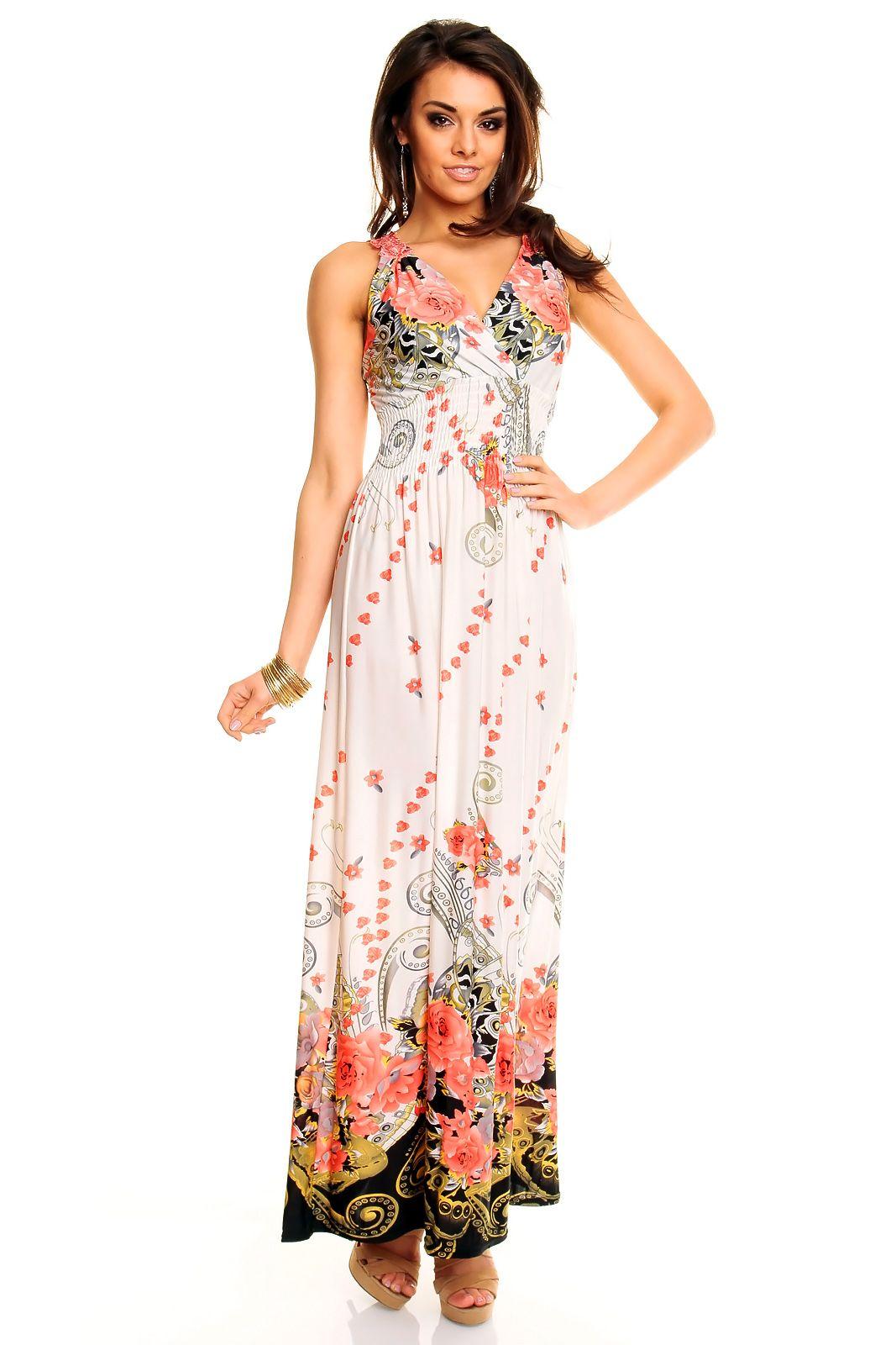 b18289f06413 Kjole m mønster - Lang lækker sommerkjole m flot blomster motiv. Flot  udsmykning af blonder på ryggen. Materiale  95% polyester. 5% spandex  Modellen er ca.