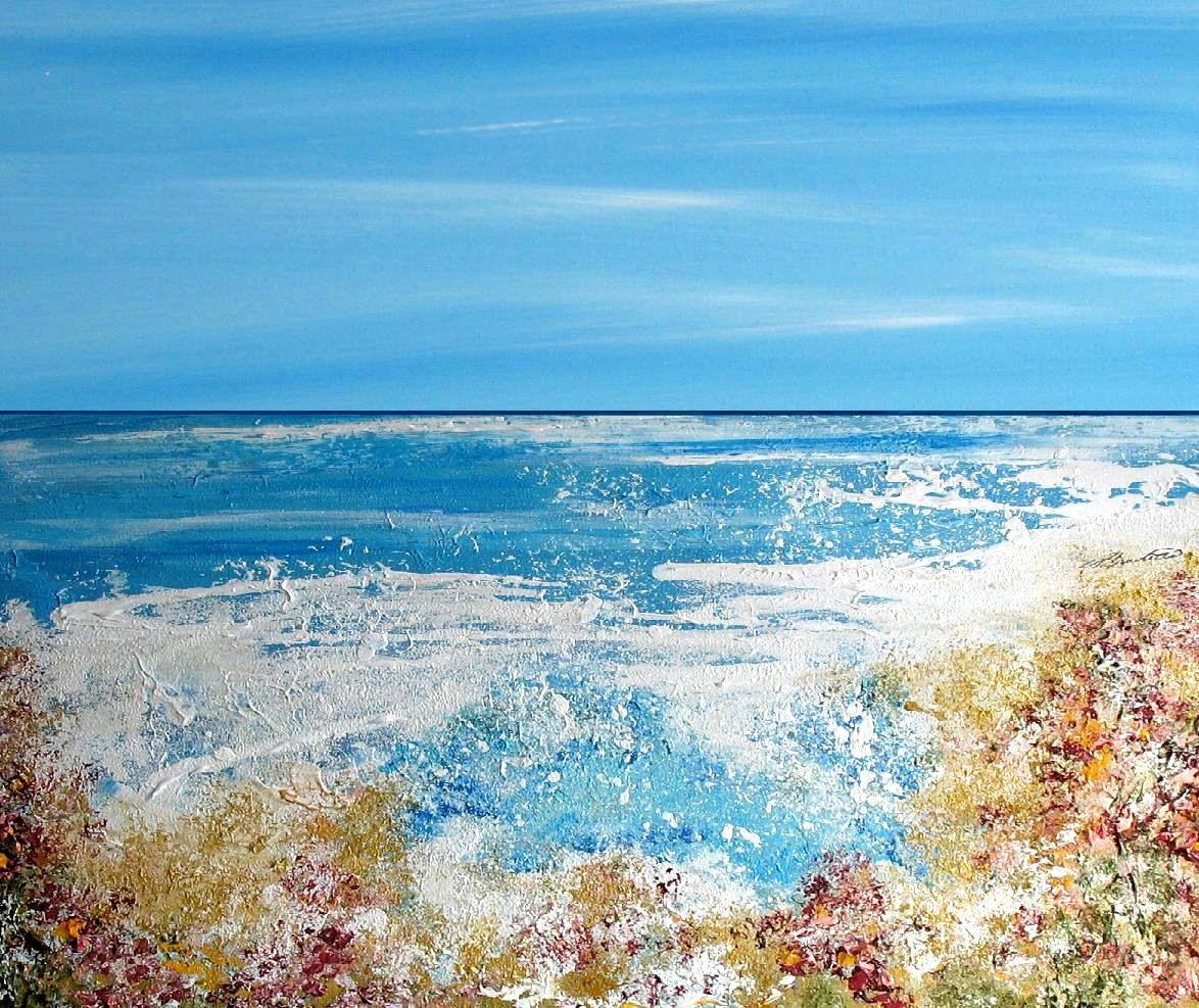 Bathroom Wall Art Canvas Artwork Nautical Coral Reef Ocean: Beach Art, Beach Ocean Artwork, Beach Art Print, Abstract