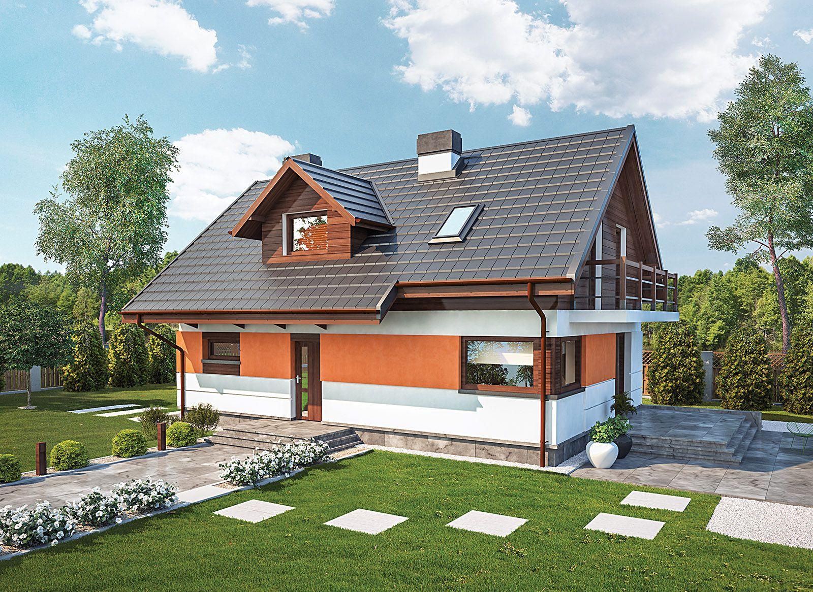 """""""Wprawny"""" Murator C339 - ten dom z poddaszem użytkowym prezentuje się nowocześnie i stylowo, a jednocześnie będzie dobrze wyglądał w otoczeniu przyrody. We wnętrzu znajdziemy wszystko, co niezbędne 4-5-osobowej rodzinie."""