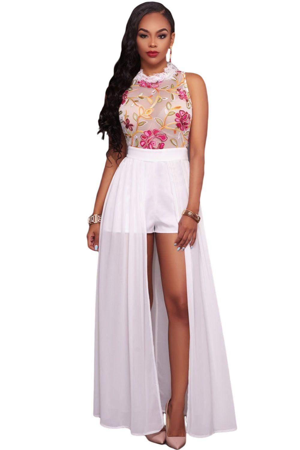 fda9d3bcaff2 2017 Women Summer Celebrity bohemian dinner party Sexy Ladies Bodycon Sheer Mesh  Embroidery Chiffon Romper Maxi