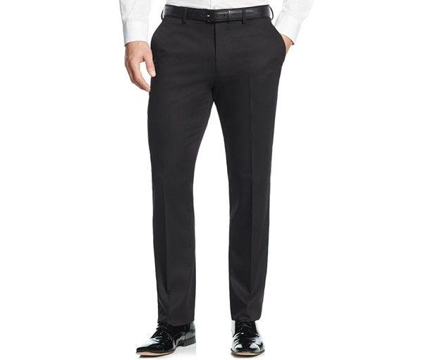 Perry Ellis Portfolio Solid Black Slim-Fit Tuxedo  a0625dbb6