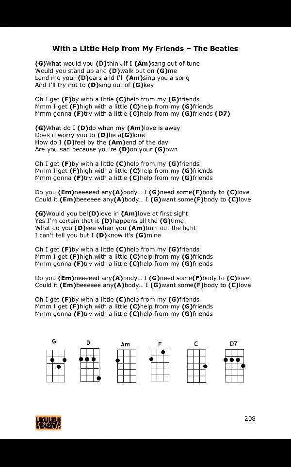 With A Little Help From My Friends Ukulele Chords Beatles Ukulele