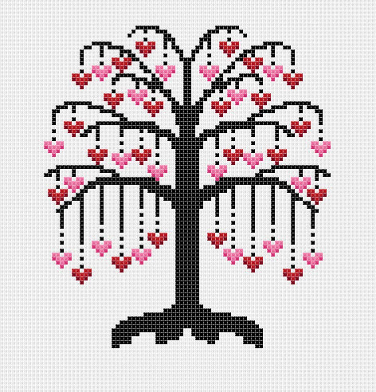 Cross Stitch Chart Heart Tree of Life 6