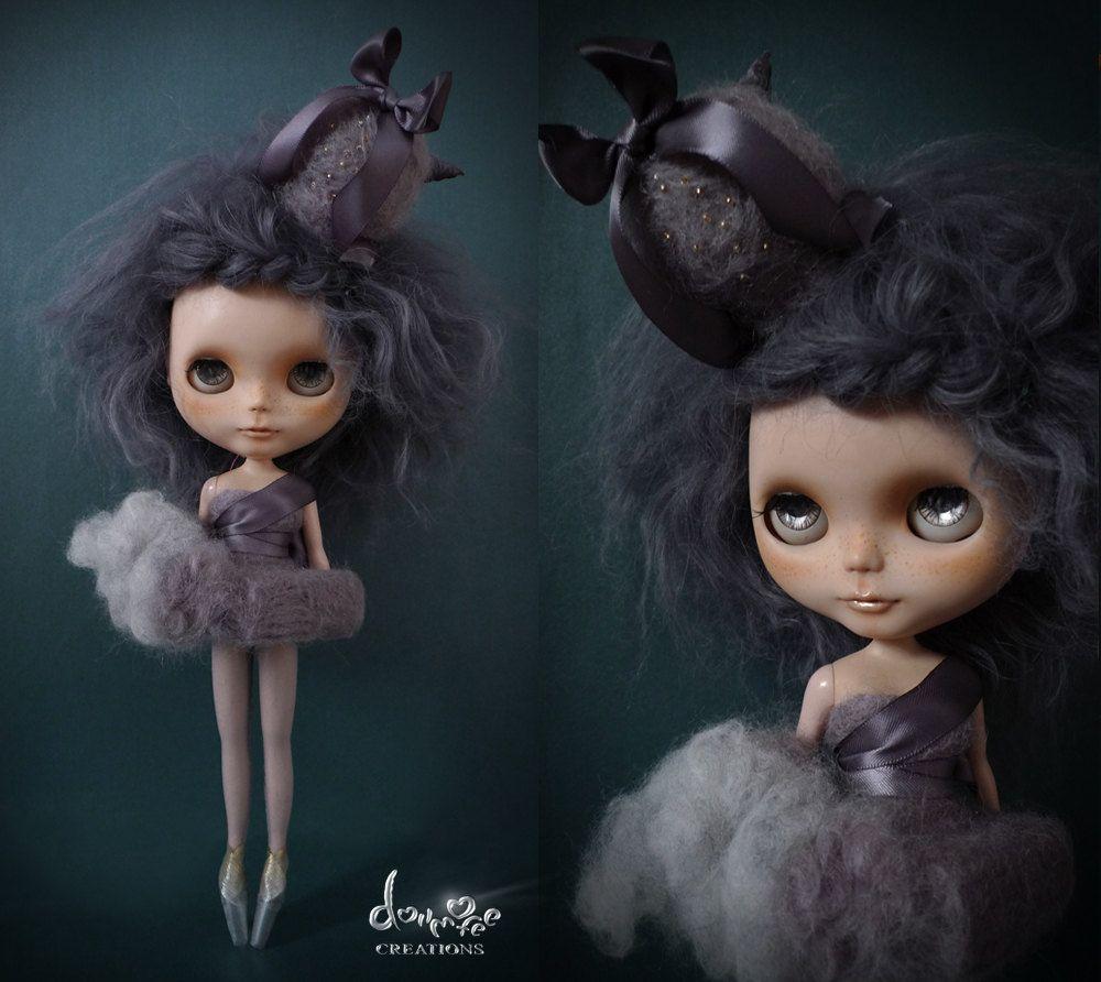 dollmofee creations Candyfloss dress set - Gray for Blythe. $126.00, via Etsy.