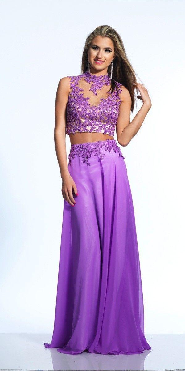 Two Piece Purple Illusion Appliques A Line Prom Dress Cwb0500