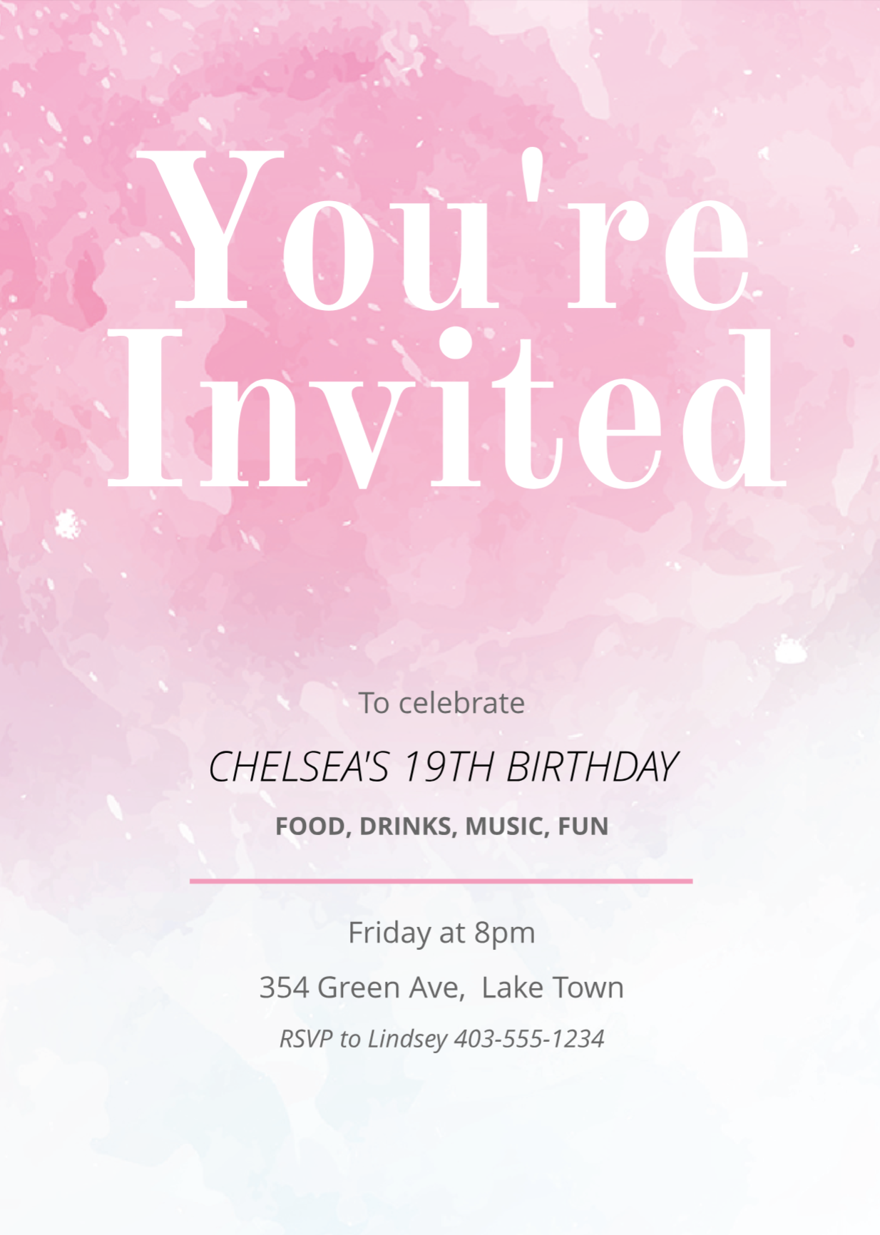 Pink Painted Invitation Template