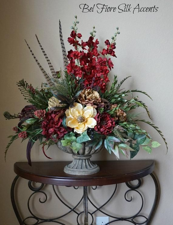 Large Tuscan Red Cream And Brown Centerpiece Floral Dining Table Arrangement T Silk Flower Arrangements Christmas Floral Arrangements Large Flower Arrangements